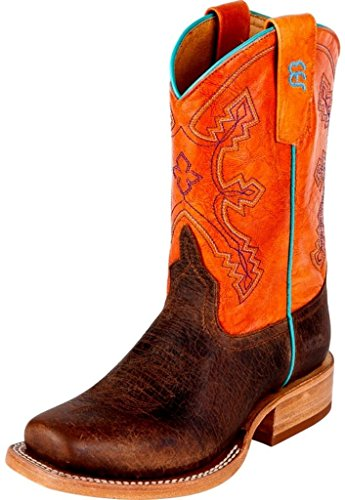 Boots Anderson Bean Kids (Anderson Bean Western Boots Boys 12 Child Toast Bison Tangerine K1112)