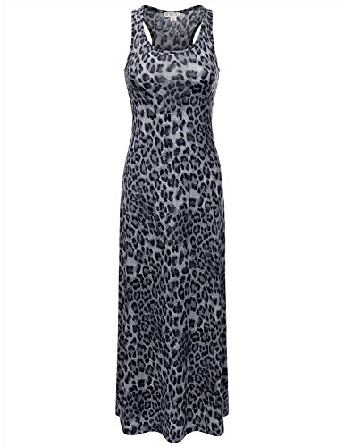 DRESSIS Women's Leopard Racerback Scoop Neck Sleeveless Maxi Tank Dress BLACK M