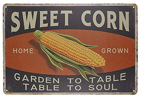 TISOSO Sweet Corn Retro Vintage Metal Tin Sign Home Bar Kitchen Farmhouse Home Decor Signs Gifts Size 8