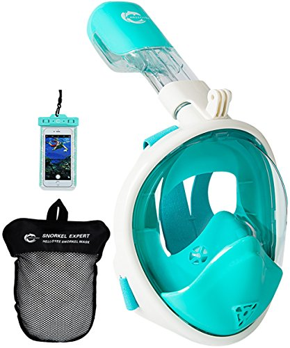 HELLOYEE Full Face Snorkel Mask for Adults Kids Panoramic View Snorkeling Mask Free Breathing Anti-Fog Anti-Leak Design with Detachable Camera Mount (Green, XS)