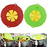 : AuSincere 2 X Spill Stopper Lid Cover And Spill Stopper, Boil Over Safeguard,Silicone Spill Stopper Pot Pan Lid Multi-Function Kitchen Tool (Green And Red)