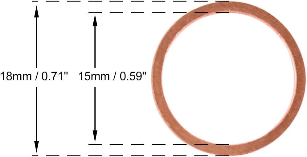 X AUTOHAUX 10 STK Kupferscheibe Unterlegscheibe Flach Dichtring f/ür Auto 15 x 18 x 1,5mm