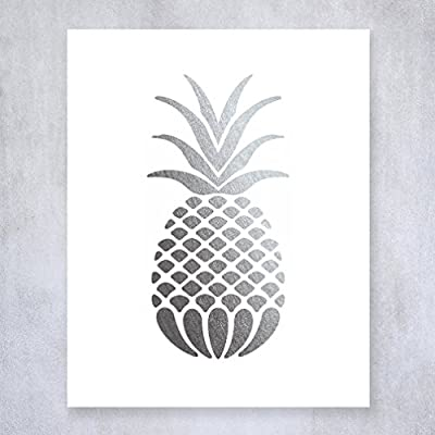 Pineapple Silver Foil Art Print Small Poster Tropical Chic Metallic Modern Wall Art Silver Decor 5 inches x 7 inches B18