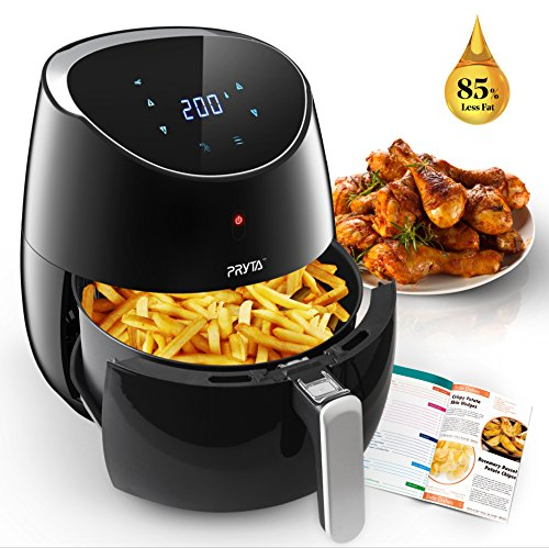 Air Fryer, PRYTA 5.3-Quart Electric Oil Less Hot Air Fryer Cooker with 50 Recipes, Touch Screen Control, Dishwasher Safe, Non-Stick Interior, 1700W