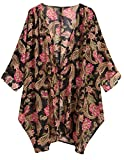 OLRAIN Women's Floral Print Sheer Chiffon Loose Kimono Cardigan Capes (X-Large, Black Rose)