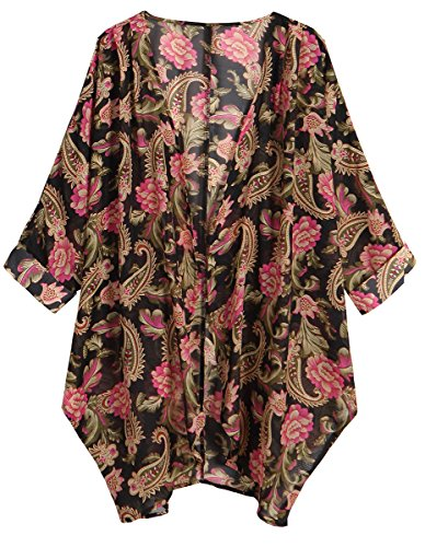 OLRAIN Women's Floral Print Sheer Chiffon Loose Kimono Cardigan Capes (X-Large, Black Rose) -