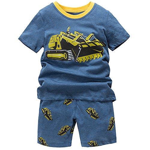 B.GKAKA Boys Pajamas Toddler Kids Short Pjs Bulldozer Sleepwear Pants Set