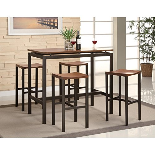 Pub Table Set 5 Piece Counter Height Dining Furniture Home Bar Table (Metal Oak Pub Table)