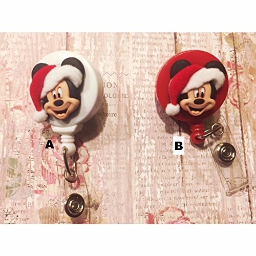 (mickey mouse santa clip Badge ID holder with retractable reel)