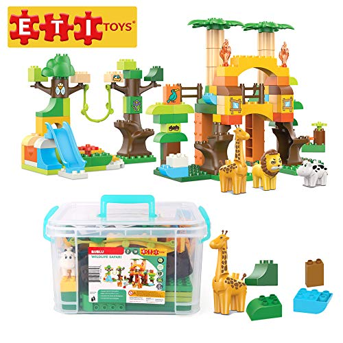 ETI Toys | 110 Piece Bublu Wildlife Safari Building Blocks; Build Forest, Wild Animals Habitat. 100% Non-Toxic, Fun, Creative Skills Development! Best Gift, Toy for 3, 4, 5 Year Old Boys and Girls