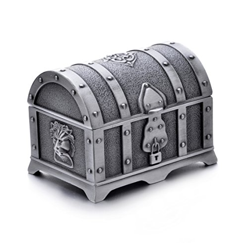 REINDEAR Vintage Pewter Tooth Fairy Treasure Chest - Fairy Box Pewter Tooth