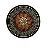 Wolala Home Boho Style Europe Geometric Flower Printing Rug for Bedroom,Brown Round Area Rugs,Rugs for Living Room 4 Feet,Non-slip Washable Carpet(4'x4')