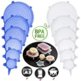 BeRicham 12 Pack Reusable Durable and Expandable Silicone Stretch Lids to Keep Food Fresh Perfect for All Kinds of Food Storage Container, Dishwasher Refrigerator and Microwave Safe, 6 Size
