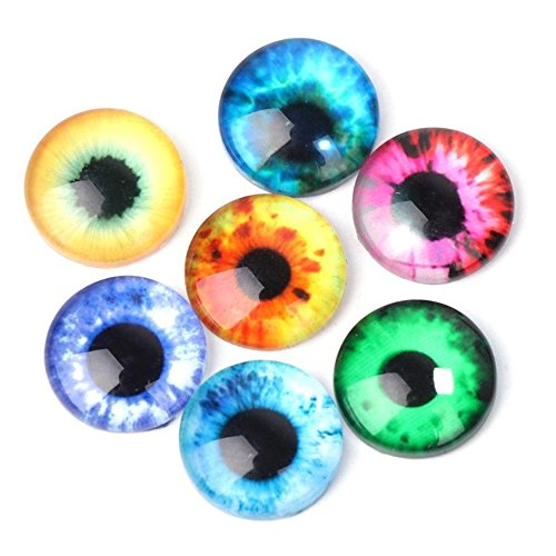 (Springdoit 10mm 20pcs Colorful Eyes Round time gem Cover Glass Cabochon Dome Jewelry Finding Cameo Pendant Settings)