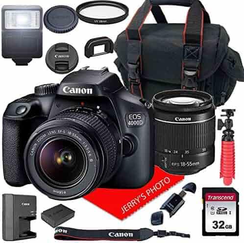 Canon EOS 4000D / Rebel T100 DSLR Camera w/Canon EF-S 18-55mm F/3.5-5.6 III Zoom Lens + Case + 32GB SD Card (15pc Bundle)