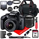 image of Canon EOS 4000D / Rebel T100 DSLR Camera w/Canon EF-S 18-55mm F/3.5-5.6 III Zoom Lens + Case + 32GB SD Card (15pc Bundle)