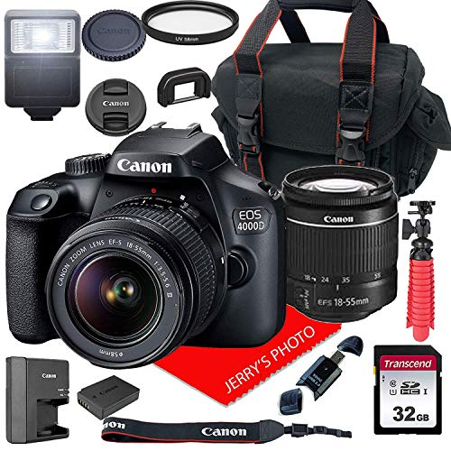 Canon EOS 4000D / Rebel T100 DSLR Camera w/Canon EF-S 18-55mm F/3.5-5.6 III Zoom Lens + Case + 32GB SD Card (15pc Bundle) (Best Small Canon Camera)