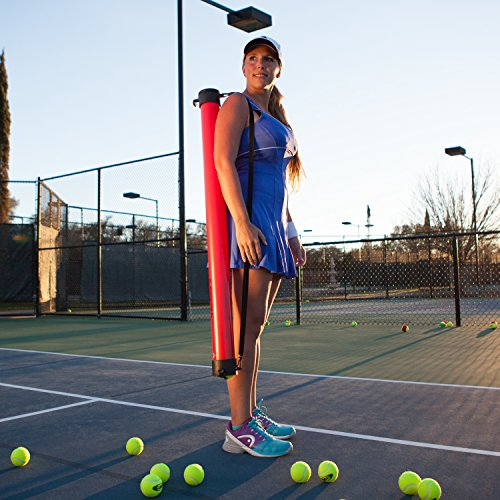 Gamma Tennis Ballhopper Balltube 18, Picks Up and Holds 18 Balls Quickly and Easily - Red or Clear