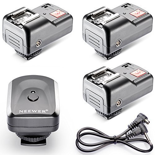 Neewer 4 Channel FM Radio Wireless Flash Speedlite Trigger with 3 Receivers and a PC Sync Cord for Canon 580EX II 580EX 550EX 540EZ 520EZ 430EX 430EZ 420EX 420EZ 380EX, Nikon SB-800 SB-600 SB-28 SB-27 SB-26 SB-25 SB-24, Olympus FL-50 FL36, Pentax AF-540 FGZ AF-360 FGZ AF-400 FT AF-240 FT, Sigma EF-500 DG Super EF-500 DG ST EF-430, Sunpak Auto 2000DZ 622 Pro 433AF 433D 383 355AFm 344D 333D, Vivitar 285HV and Other Flash Units with Universal Hot Shoe