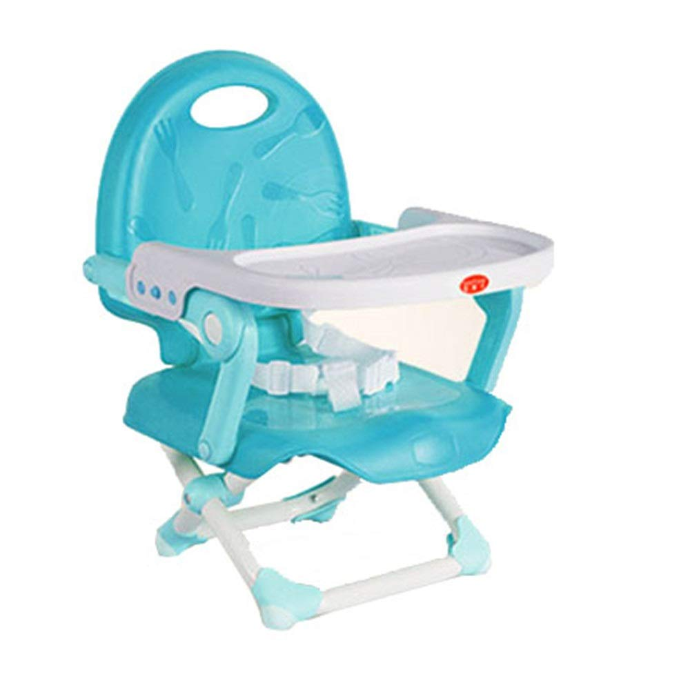 Kids' Desk & Chair Sets Removable Tray Height Adjustable Travel Booster Seat Feeding Dinning Chair Baby Infant Foldable High Chair (Color : Blue, Size : 363436cm) by Liuxina