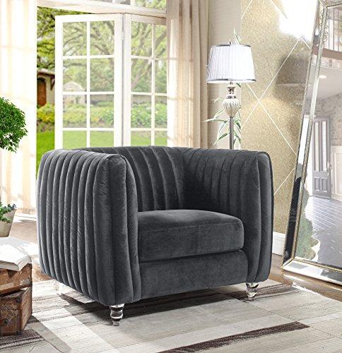 Iconic Home Kent Elegant Velvet Modern Contemporary Plush Cushion Seat Round Acrylic Feet Club Chair, Grey