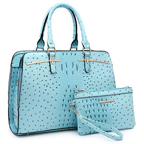 - Women Handbag Fashion Satchel Multi Pockets Purse 2 Pieces Set Triple Compartment Shoulder Bag Faux Leather