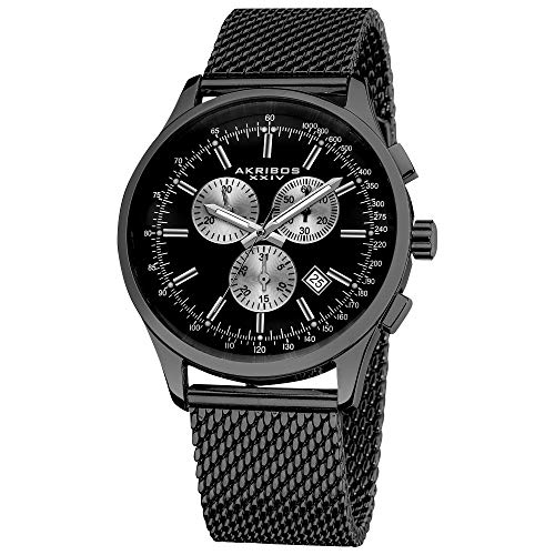 Akribos XXIV Men's Multifunction Watch - 3 Subdials Round Black Dial Chronograph Quartz Watch On a Mesh Bracelet - AK625