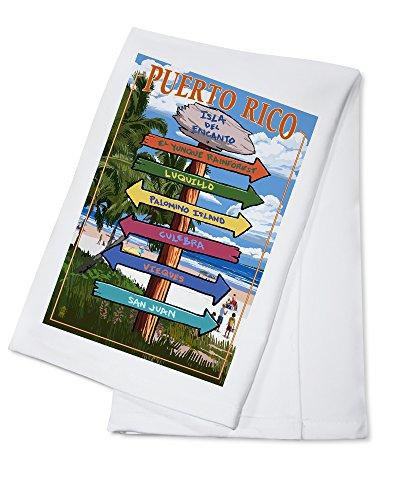 Isla del Encanto, Puerto Rico - Destinations Sign (100% Cotton Kitchen Towel)