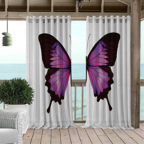 - Gazebo Waterproof Curtains Purple Butterfly Natural Art Swallowtail and Detailed Vivid Wings Seal Brown Fuchsia and Hot Pink pergola Grommets Decor Curtain 84 by 72 inch