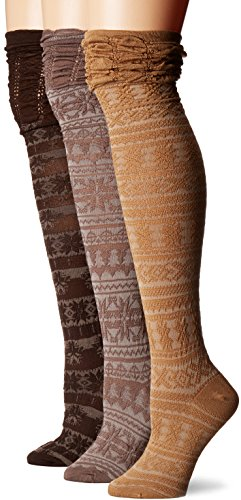 Muk Luks Women's 3 Pair Pack Microfiber Over The Knee Socks, Brown, OSFM from MUK LUKS