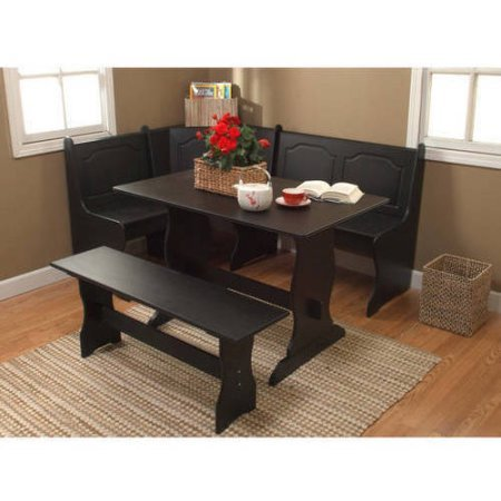 3 Piece Corner Dining Kitchen Set, Table, Backless Bench and Nook Bench with Lifts for Storage, Seating Capacity for Six People, Save Space, Perfect for Family Gathering and Evening, Black Finish Corner Dining Nook