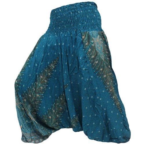 JEP01Hippy Hippie Boho Festival pavo real Genie Aladdin harén pantalones pantalones Mono Verde Verde Azulado