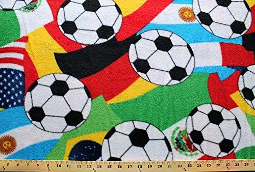 Fleece Soccer Balls on National Flags Germany Brazil Spain USA Mexico Argentina Sports Fleece Fabric Print by the Yard (sDT-3654-MA-1d)