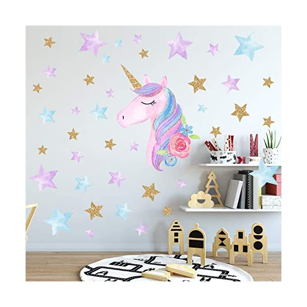 AIYANG Unicorn Wall Stickers Rainbow Colors Wall Decals Reflective Wall Stickers for Girls Bedroom Playroom Decoration (Stars,Left) 5