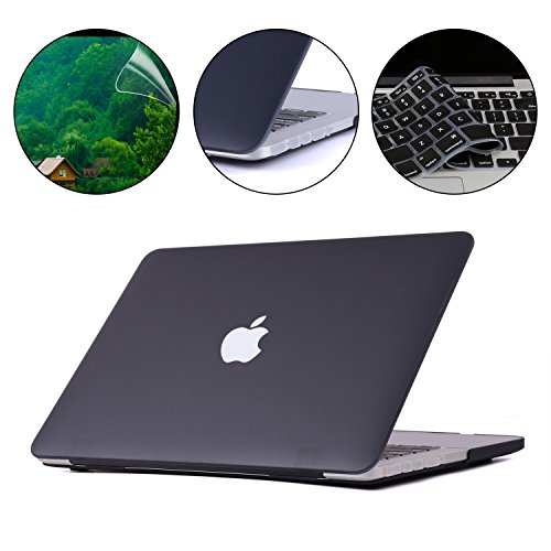 Hardshell Rubberized Cover - Applefuns(TM) 4IN1 Kit Matte Hard Shell Case + Keyboard Cover + Screen Protector + Dust Plug for Macbook Pro 13