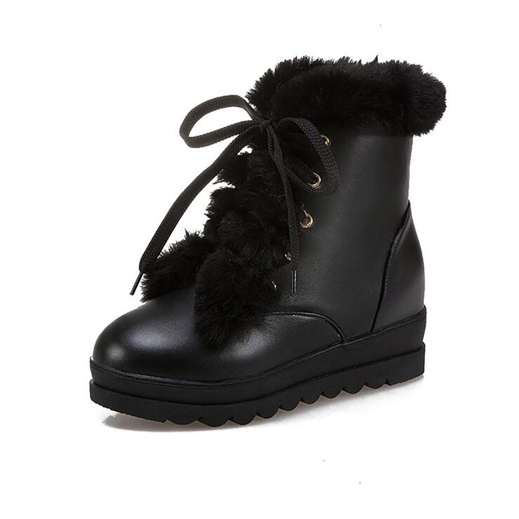 Hy Damenschuhe Winter dicken Boden warme Schneeschuhe Stiefel Damen erhöhen Kreuz Lace-up Lässige Stiefelies Stiefeletten Student Slip-Ons Outdoor-Ski-Schuhe (Farbe   C Größe   40)
