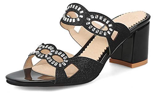 SFNLD Women's Chic Sequined Rhinestones Open Toe Low Cut Slide On Mid Block Heels Mule Slippers Sandals Black 10.5 B(M) US