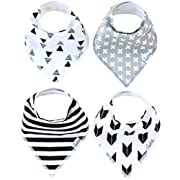 """Baby Bandana Drool Bibs for Drooling and Teething 4 Pack Gift Set For Boys and Girls """"Shade Set"""" by Copper Pearl"""