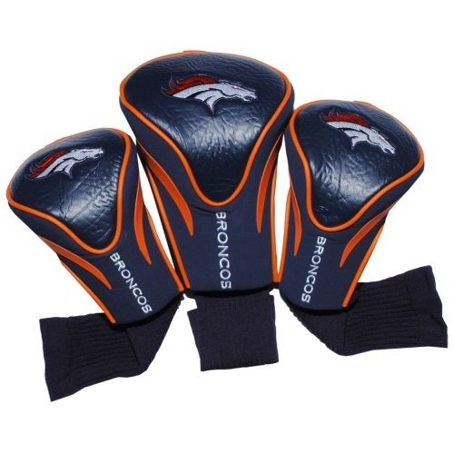 Team Golf NFL Denver Broncos Contour Golf Club Headcovers (3 Count), Numbered 1, 3, & X, Fits Oversized Drivers, Utility, Rescue & Fairway Clubs, Velour lined for Extra Club Protection