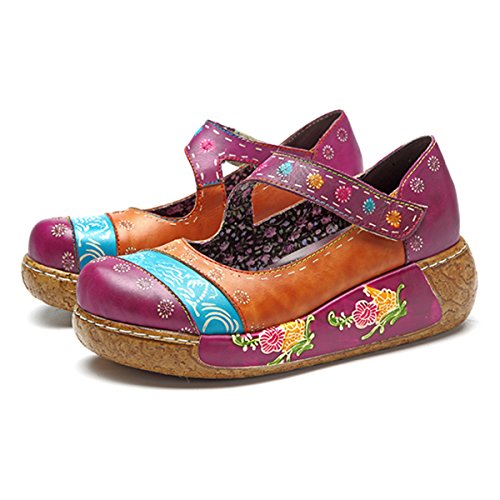 Socofy Dames Muilezels, Sandalen Misstap-ons Zomer Lederen Slippers Pantoffel Klompen Vintage High-top Bloem Espadrilles Schoenen Loafer Slippers Grau_c