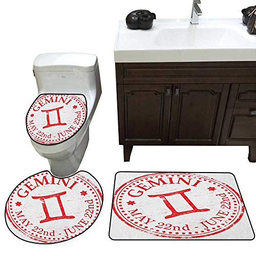 (Zodiac Gemini Bathroom Rug Set Weathered Old Rubber Stamp Design Vintage Circle Stars Sign and Dates bathmat Toilet mat Set Scarlet and)