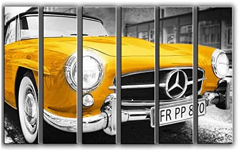 Large Set Gold Mercedes-Benz Wall Art Decor Picture Painting Poster Print on 6 Canvas Panels Pieces - Vintage Classic Car Theme Wall Decoration Set - Wall Picture for Showroom Office 44 by 67 in
