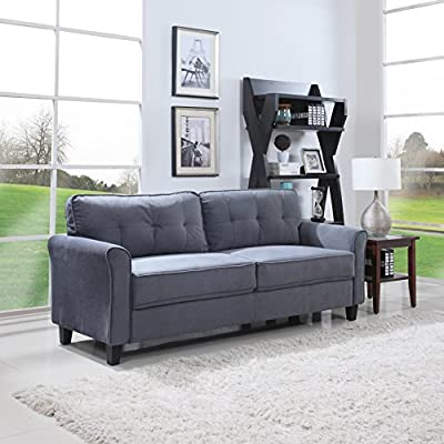 Divano Roma Furniture Classic Sofas, Dark Grey - Classic style ultra comfortable linen fabric living room sofa Features soft brush microfiber fabric upholstery with tufted back cushions which are stuffed with the best high density memory foam and hypoallergenic polyester This chair is available in dark grey, chocolate brown and hazelnut colors to provide you with the best fit for your decor - sofas-couches, living-room-furniture, living-room - 51ABP4F0TXL. SS400  -