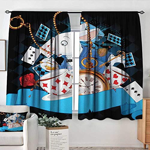 Blackout Curtains for Bedroom Alice in Wonderland,Rabbit Motion Cups Hearts and Flower Character Alice Cartoon Style,Multicolor,Darkening and Thermal Insulating Draperies 55