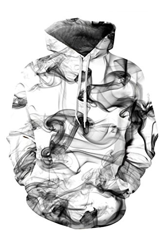 New Jumper Smoke Mens (2017 New Fashion Unisex Abstract Smoke Print Pullover Hoodie Baseball Uniform XL)