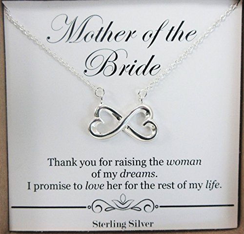 Gift for Mother of the Bride from Groom – Sterling Silver Infinity Heart Necklace – Wedding Bridal Party Present ()