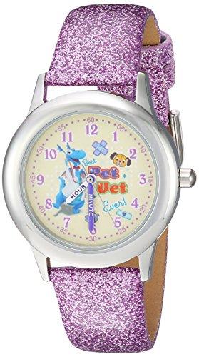 Disney Girl's 'Doc Mcstuffins' Quartz Stainless Steel Casual Watch, Color:Purple (Model: WDS000308)