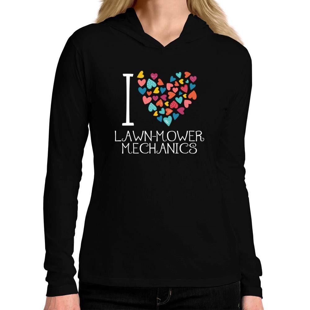 Idakoos I Love Lawn Mower Mechanics Colorful Hearts Women Hooded Long Sleeve T-Shirt