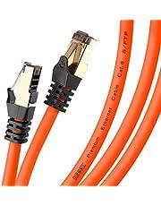 Duronic 10 M CAT8 Super Snelle Ethernetkabel | Ondersteunt tot 2GHz/2000MHz Bandbreedte | 40 Gigabit Dataoverdracht | S/FTP Afgeschermde Netwerkkabel | Oranje | Snagless Vergulde RJ45 Connectoren