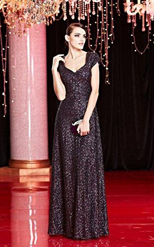 Abendkleid Schwarz mit A See FlügelOhne Applikation Ausschnitt Through Emily Linie V Beauty mit Armn Pailletten qOgABUn6